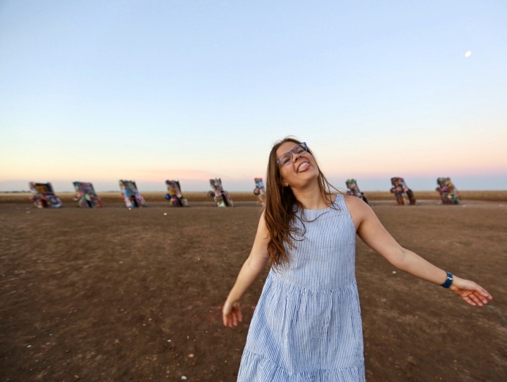 A road trip classic stop in Texas, the famous Cadillac Ranch in Amarillo, Texas.